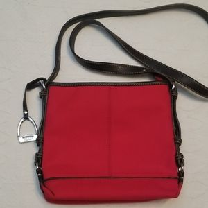 Chaps red canvas, brown straps, crossbody bag